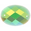 Glitter Sew-on Stone 10pcs Oval 18x25mm Green Aurora Borealis